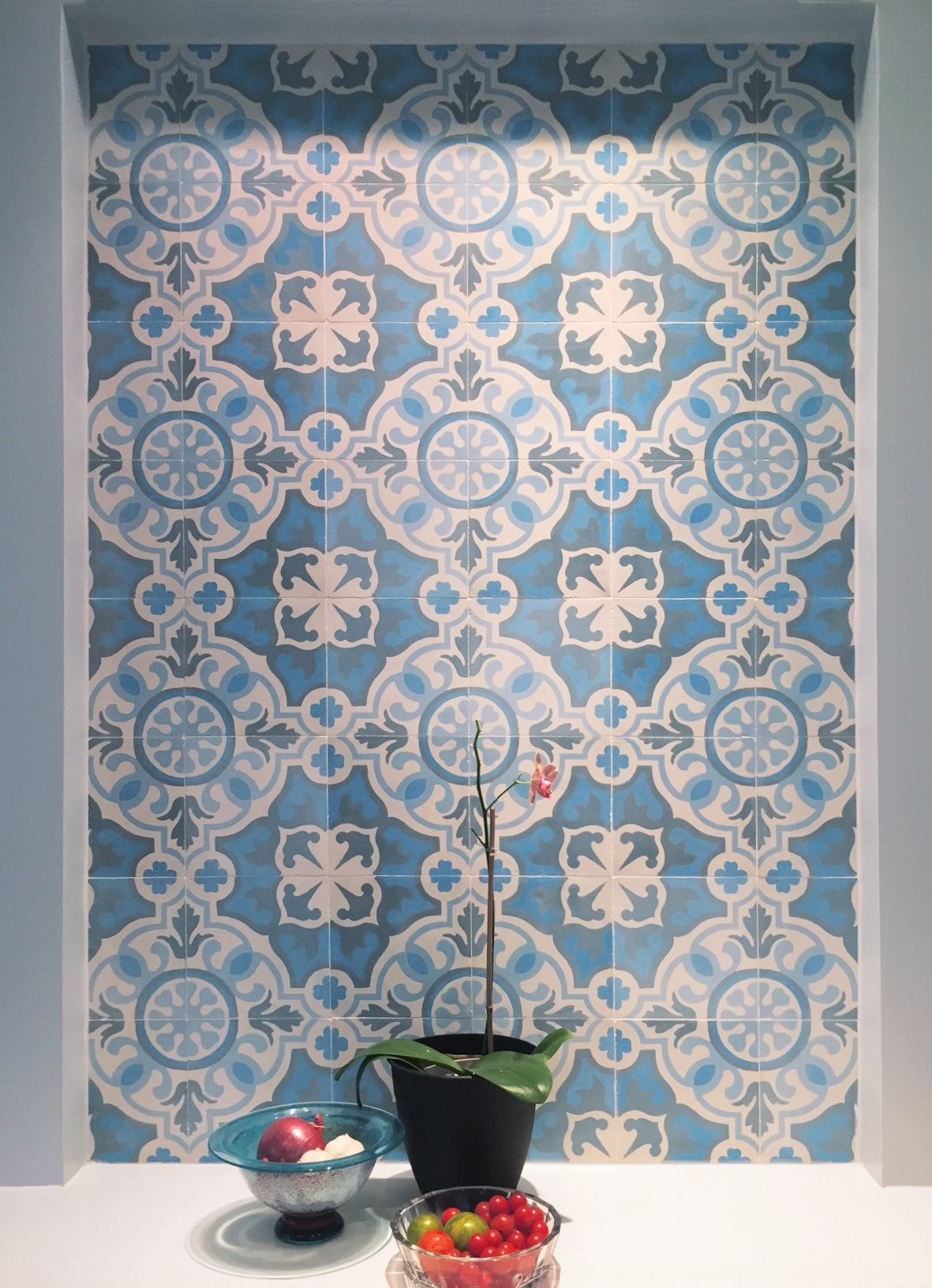 Niche with Mosaic House Versaille cement tile as an accent. Designer ...