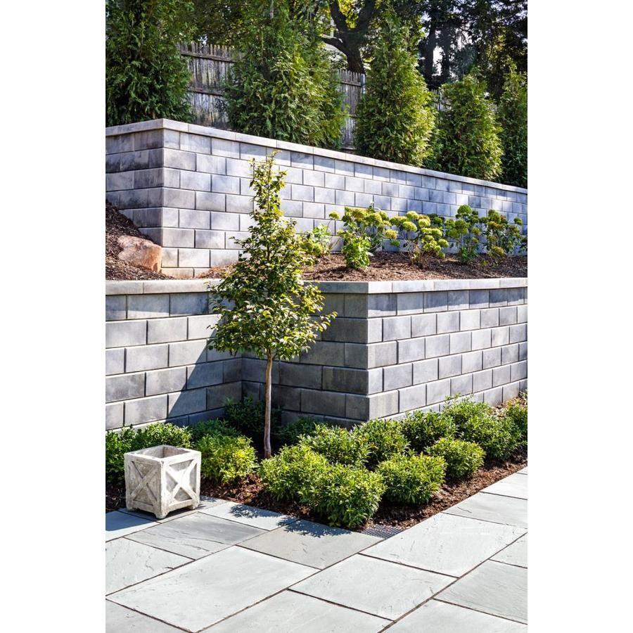 Techo Bloc Modern Yard Seattle Shale Grey Corner Retaining Wall Block Common 8 In X 18 In Actual 8 In X 18 In Lowes Com In 2020 Backyard Retaining Walls Front Garden Landscape Retaining Wall
