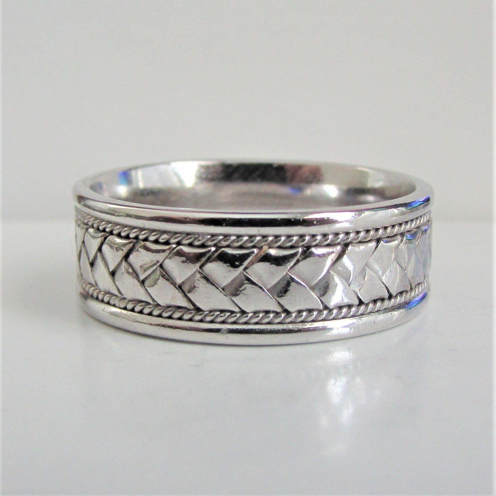 Mens 14k White Gold Braided Wedding Band Ring Or Women S Image 0 Mens White Gold Rings Wedding Ring Bands Mens Wedding Bands White Gold