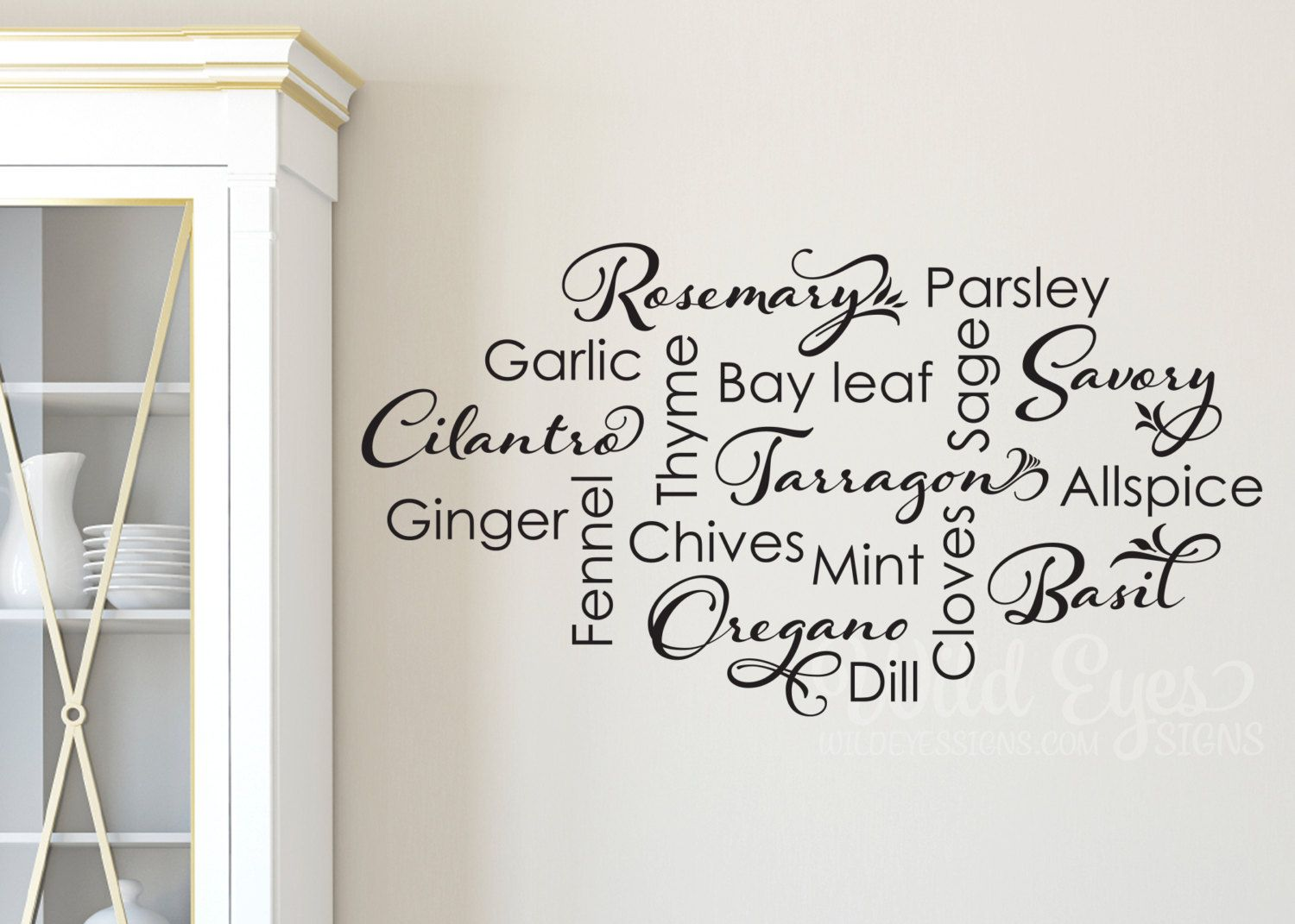 Kitchen Spice List Wall Decal Kitchen Wall Sticker Collage Etsy Wall Decor Decals Kitchen Wall Stickers Kitchen Wall Decals