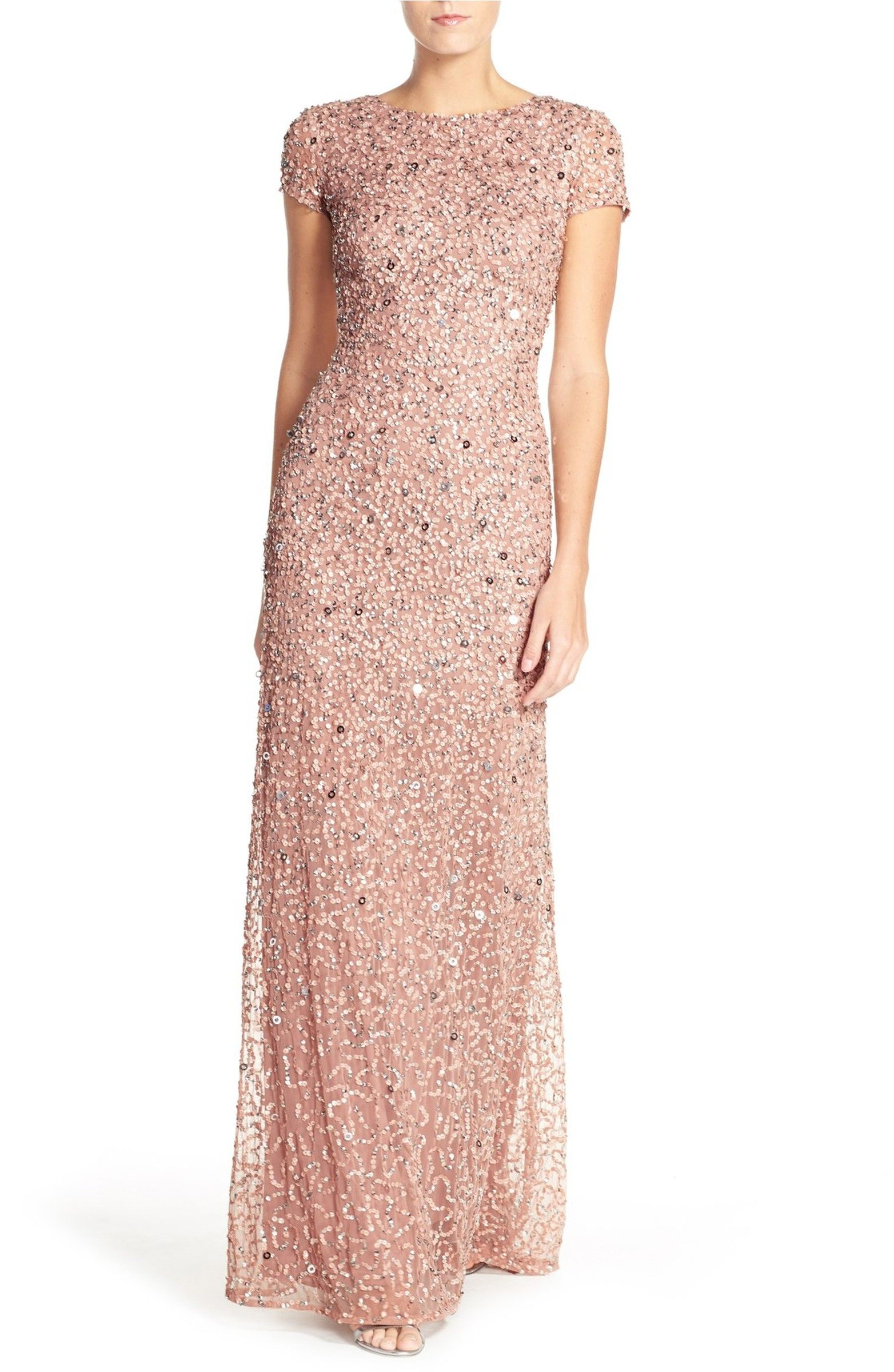 Main Image - Adrianna Papell Short Sleeve Sequin Mesh Gown (Regular ...