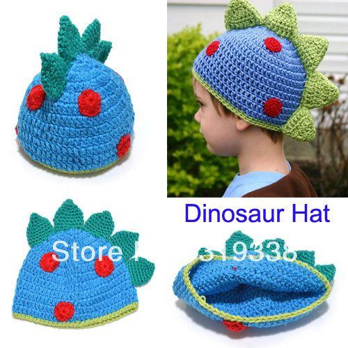 gorro tejido al crochet con forma de dinosaurio | modelos ...