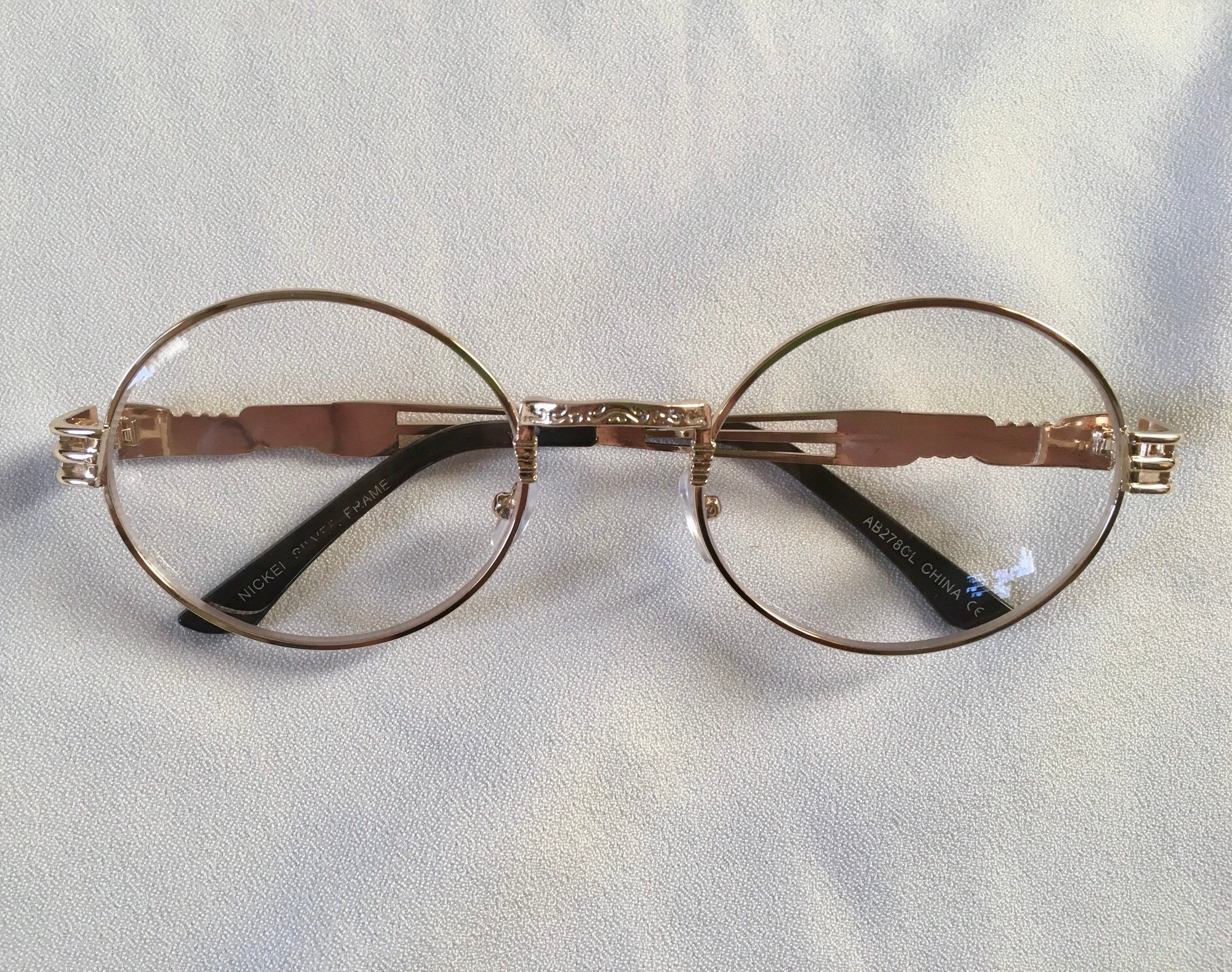 d009a258c2 Oversized Round 80s Clear Lens Glasses