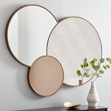 Foxed Overlapping Trio Mirror Stone Mirror Modern Mirror Wall Mirror Wall Art