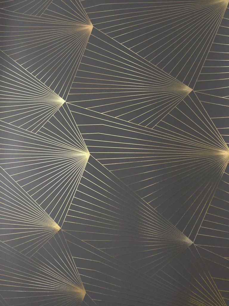 Fan Gold Lead Grey Wallcovering