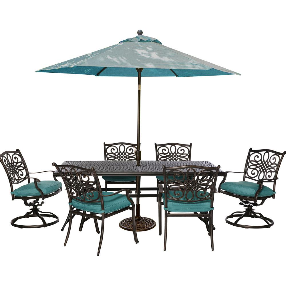 Hanover Traditions 7 Piece Outdoor Rectangular Patio Dining Set 2
