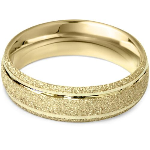 14K Yellow Gold 5MM Brushed Mens Wedding Band Ring by Pompeii3, $199.99