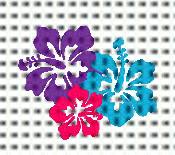 Hawaii Hibiscus Flowers - Crochet Blanket Pattern - Afghan Graphghan ...