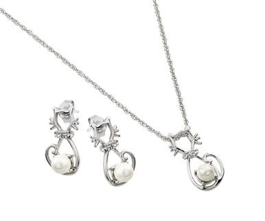 .925 Sterling Silver Rhodium Plated Open Heart Cubic Zirconia Center Pearl Dangling Stud Earring & Necklace Set