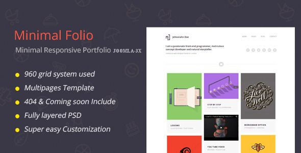 Minimal Folio-Responsive Portfolio Joomla Template Resume skills