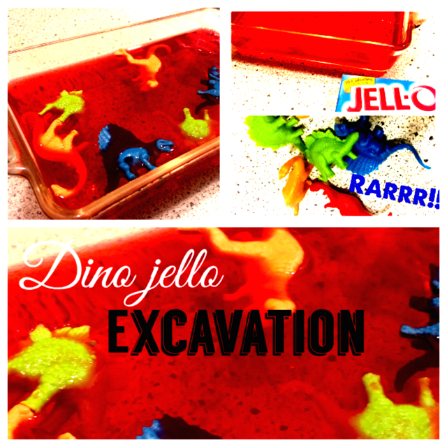 DINO JELLO EXCAVATION!!! What a fun way to get messy while digging for plastic dinosaurs in Jell-O!!