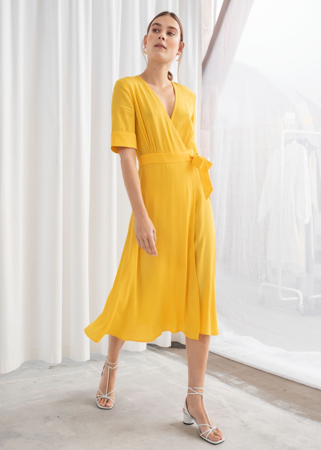 Midi Wrap Dress Affordable Summer Dresses Yellow Dress Yellow Dress Outfit [ 1434 x 1025 Pixel ]