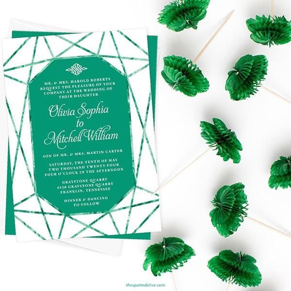 Wedding Invitations Emerald Gem Wedding Invitations
