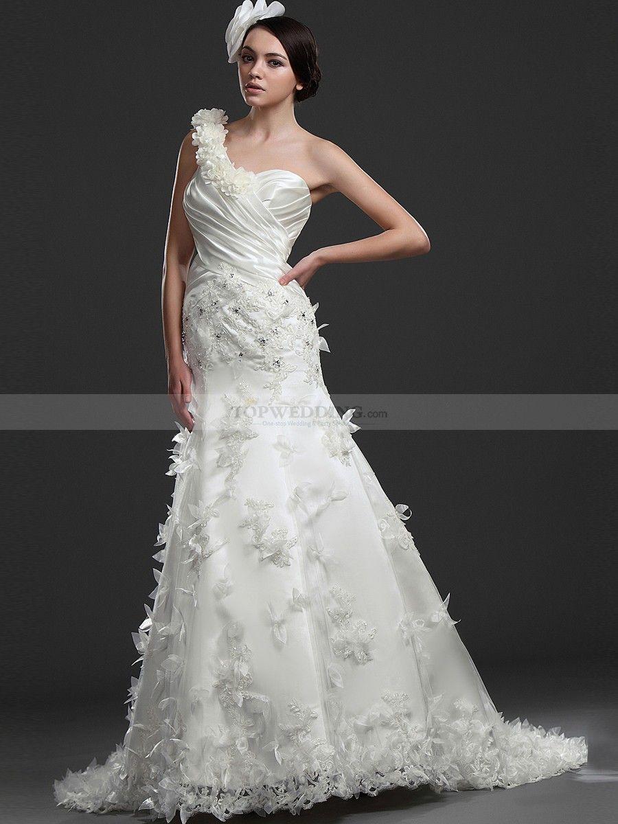 Floral one shoulder mermaid appliqued satin bridal gown wedding