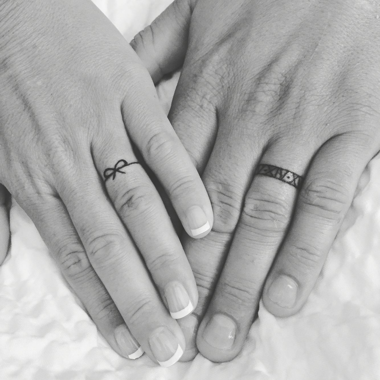 Husband and Wife Wedding Band Tattoos Tattoo wedding rings