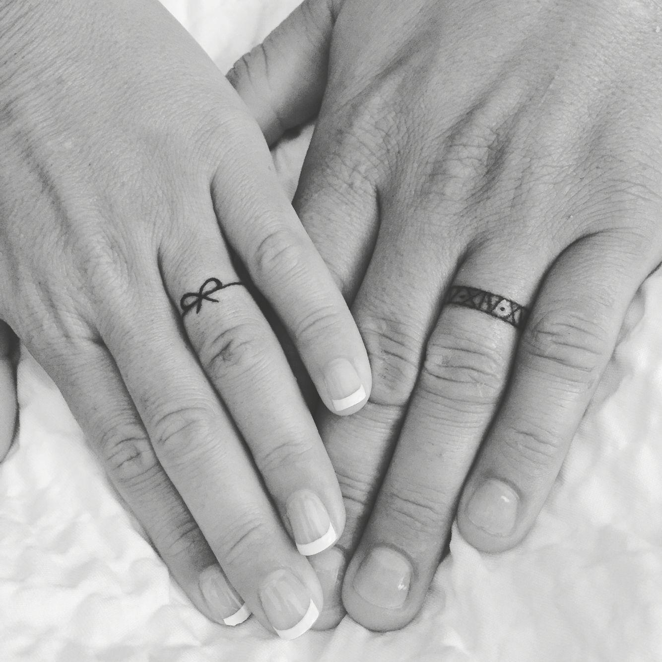 Husband And Wife Wedding Band Tattoos