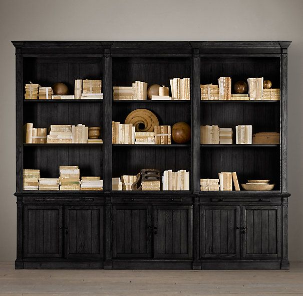 Closed Storage Below Library Triple Bookcase Black Bookcase Wall Unit Shelving Bookcase Wall