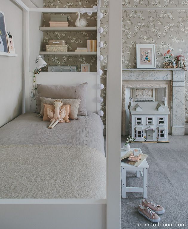 Childrens Room Interior Design: Grey U0026 Pink
