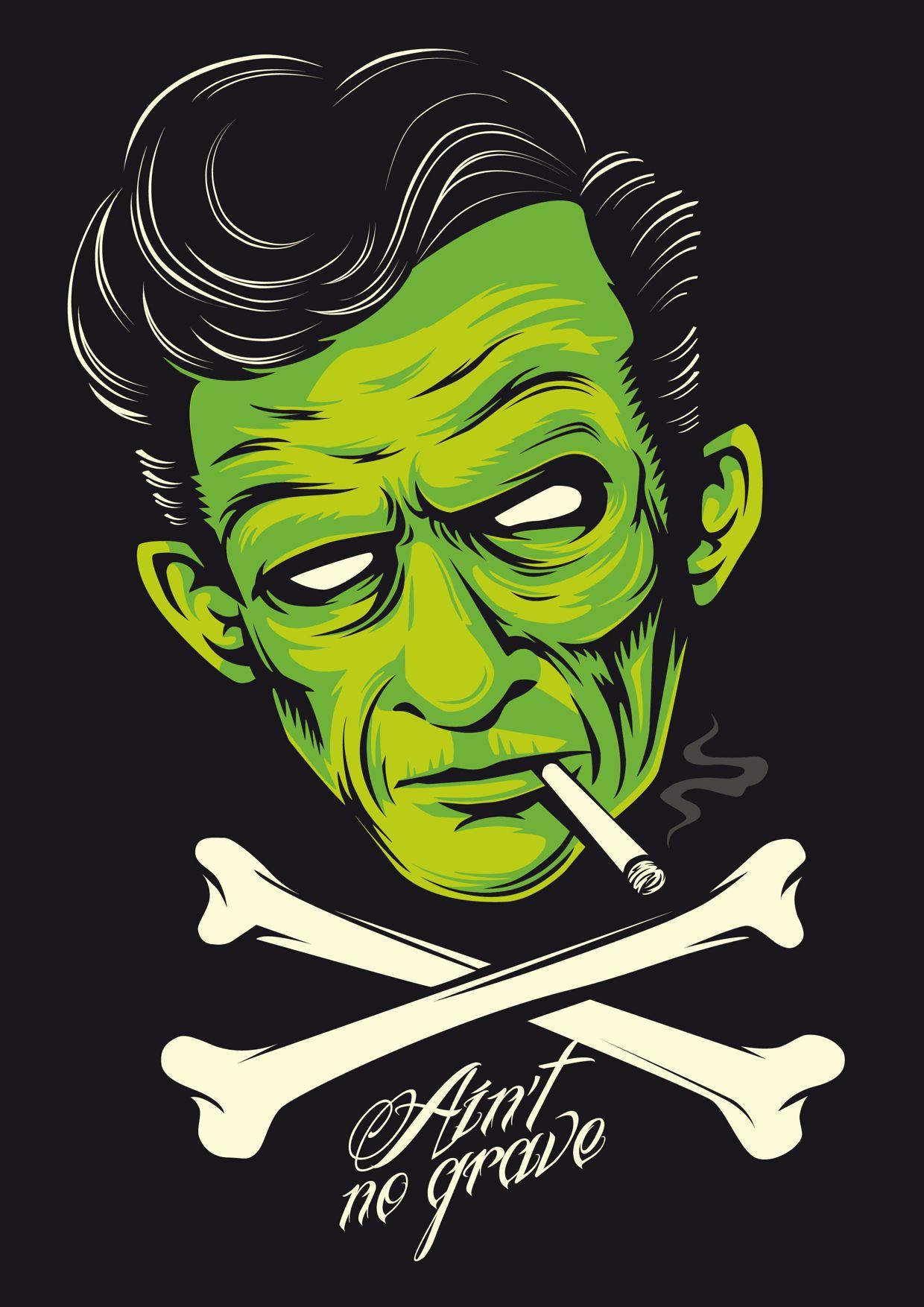 Cash, Ain´t no grave on Behance   sick   Rockabilly art ...