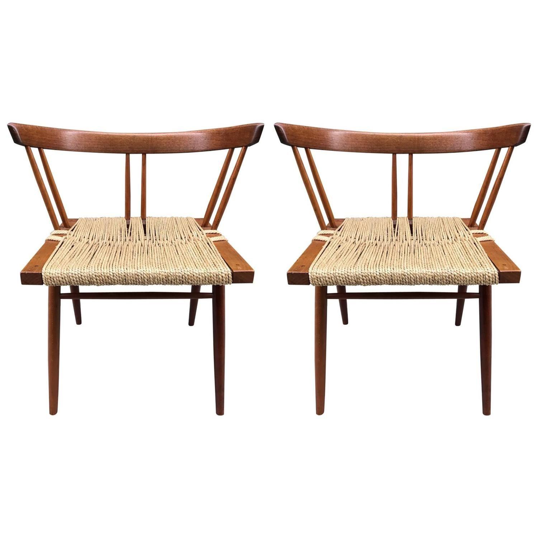 Pair Of George Nakashima Grass Seat Chairs