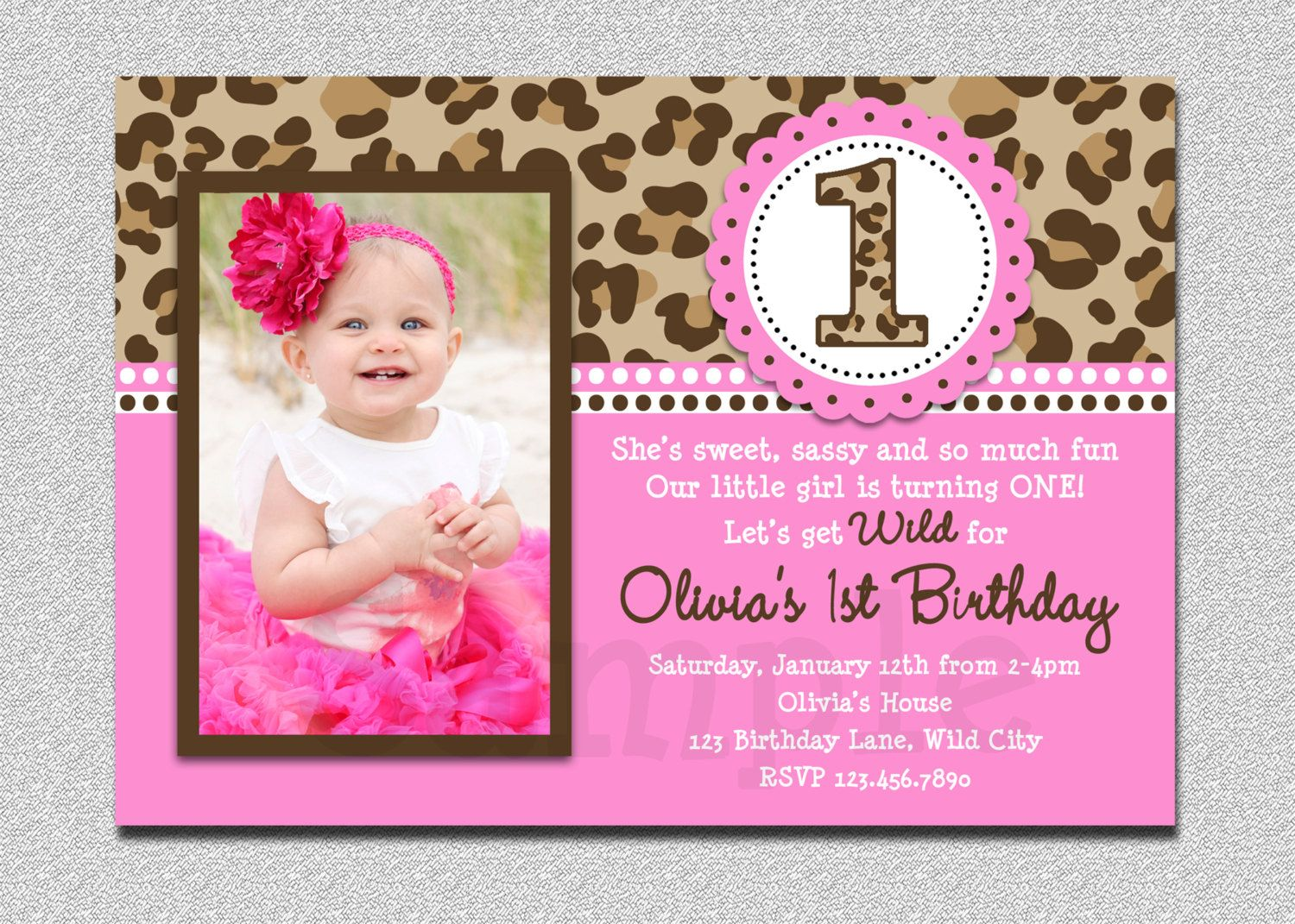 Leopard Birthday Invitation , Leopard 1st Birthday Invitation ...