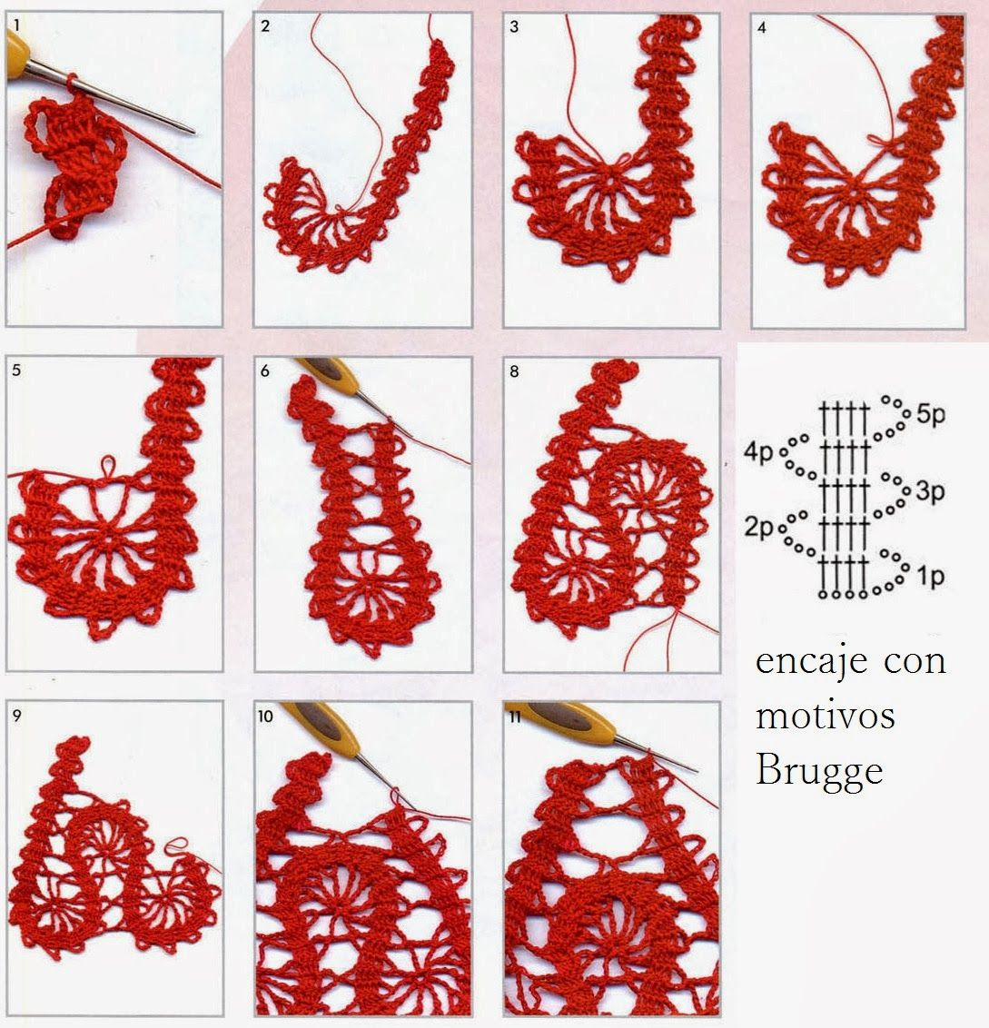 Punto Crochet Encaje con Motivos Brugge - Patrones Crochet | Tejido ...
