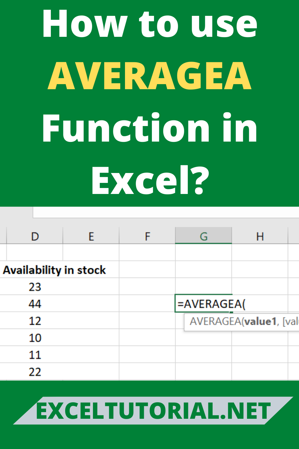 How To Use AVERAGEA Function In Excel in 2020 Excel