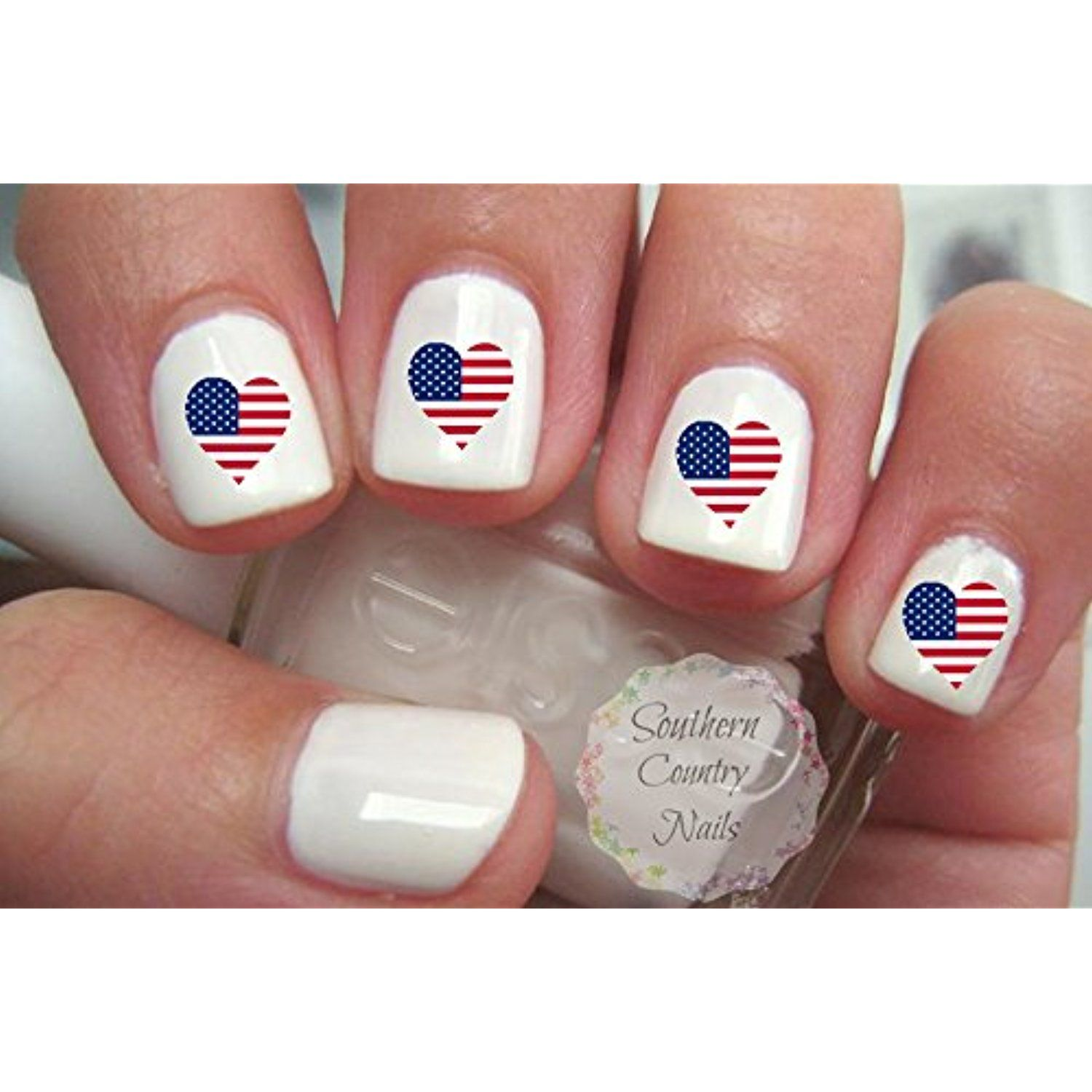 American Flag Heart Nail Art Decals United States USA 20pcs -- For ...