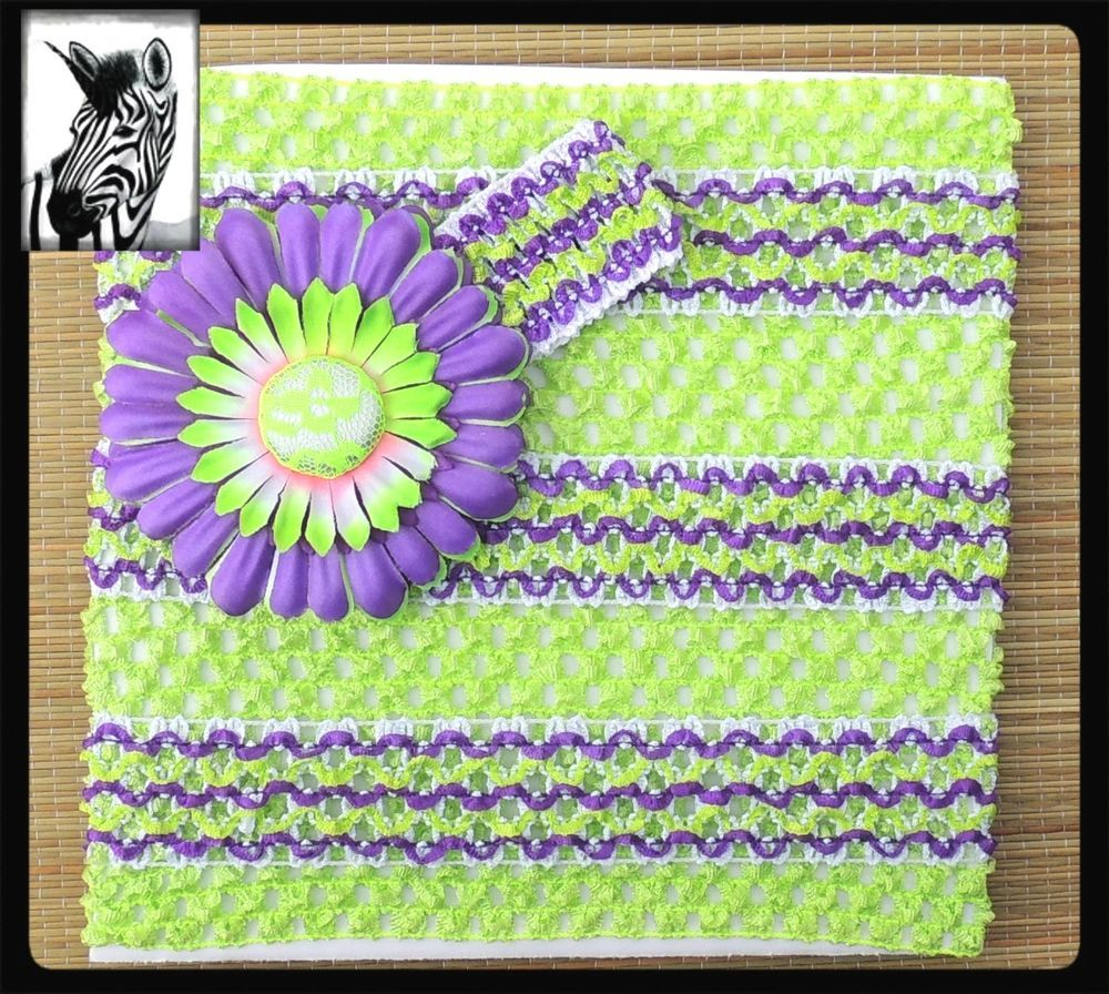 6e7a13b0eb crochet headband tube top lime green purple stripes Gerber daisy flower clip