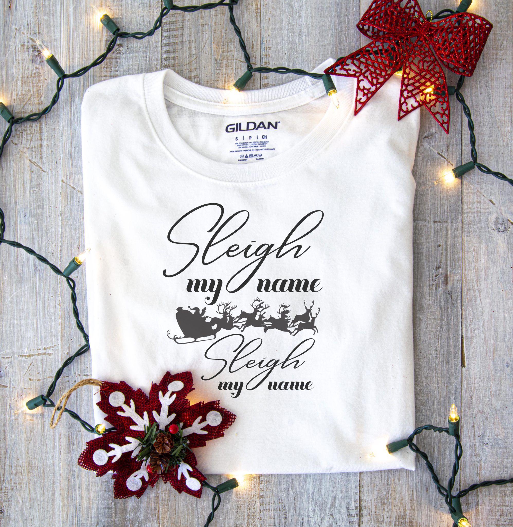Free Sleigh My Name SVG File Shirt mockup, Clothing mockup