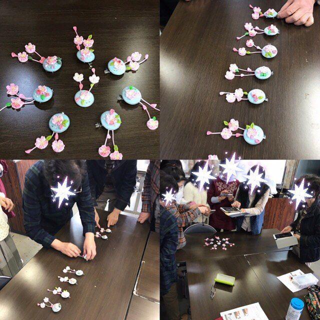 """fusahana on Instagram: """"昨日は『NHKカルチャー水戸』 1day講座 『桜の🌸ブローチ』 7名の皆様にご参加頂きました。 水戸三の丸はお天気も良く桜が満開でした。 ブローチも青空バックに咲く桜のイメージですので、ぴったりのお天気で、皆さん出来上がった作品をバックに着けて『お花見して帰ります』とご満…"""""""