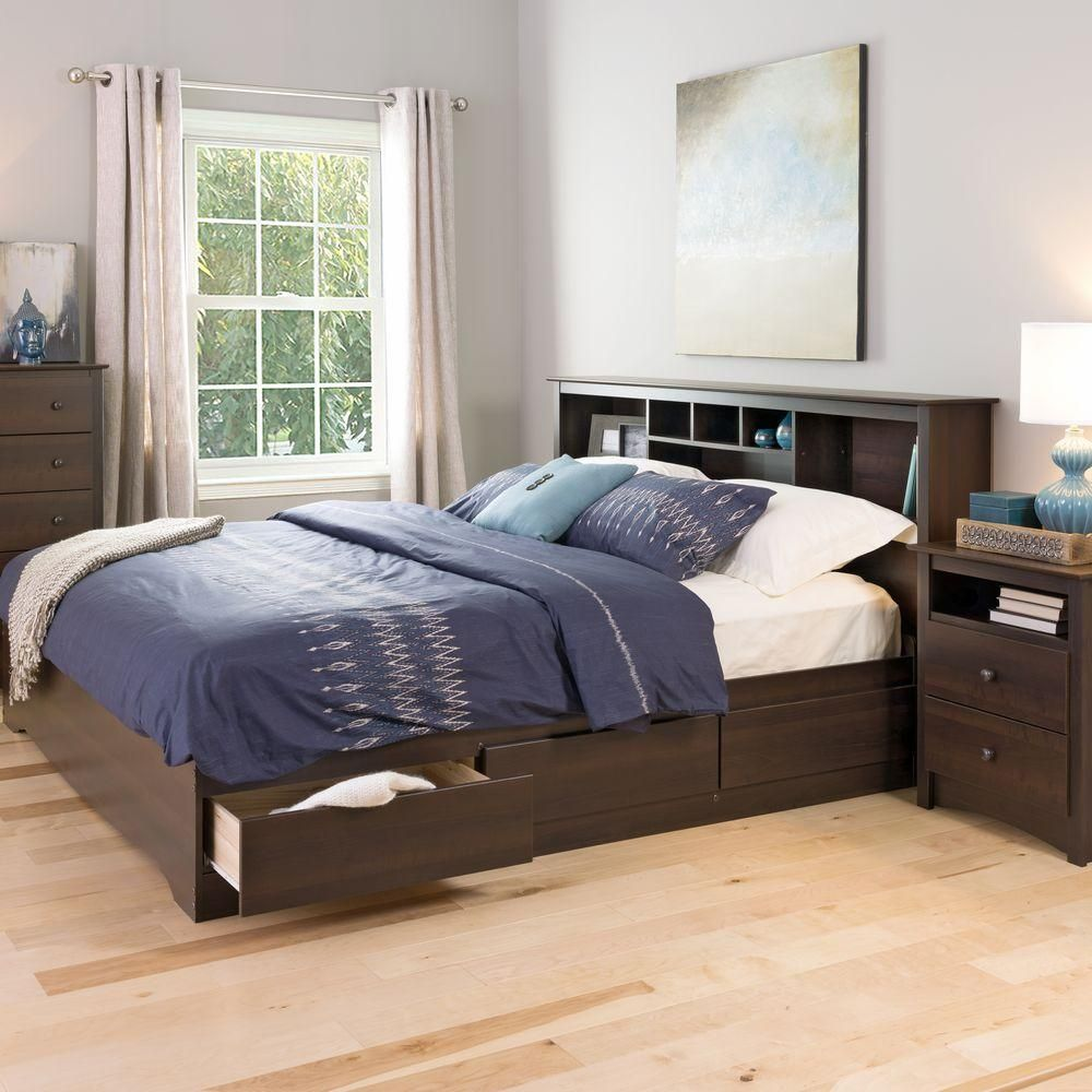 Best Prepac Fremont King Wood Storage Bed Brown King Storage 640 x 480
