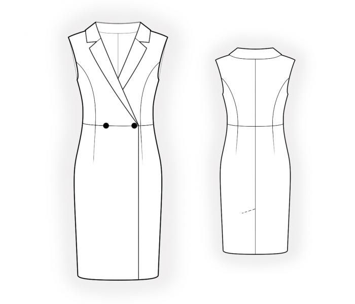Double-Breast Dress - Sewing Pattern #4569. Made-to-measure sewing ...