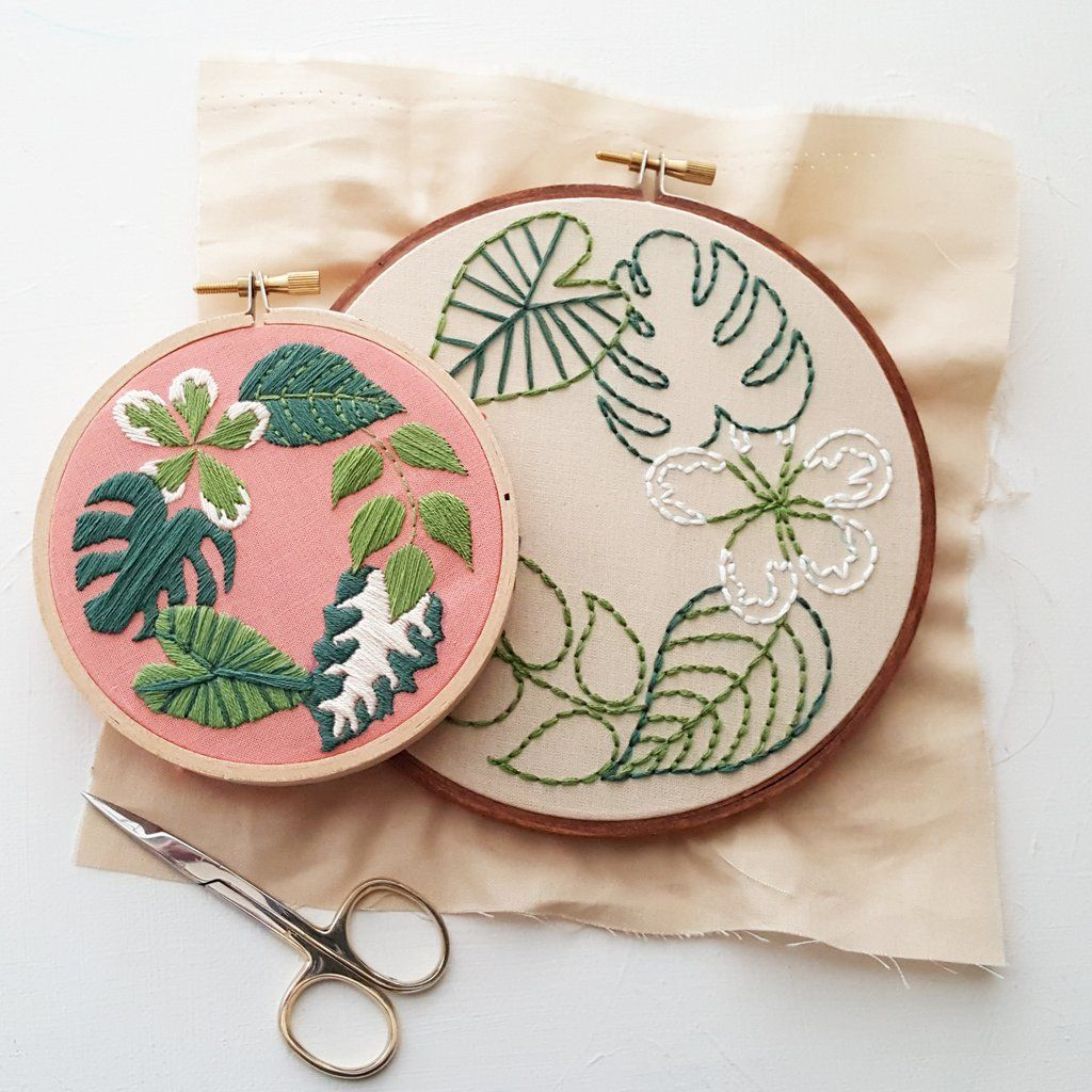 Tropical Plants Hand Embroidery Pattern and Kit #embroiderypatternsbeginner