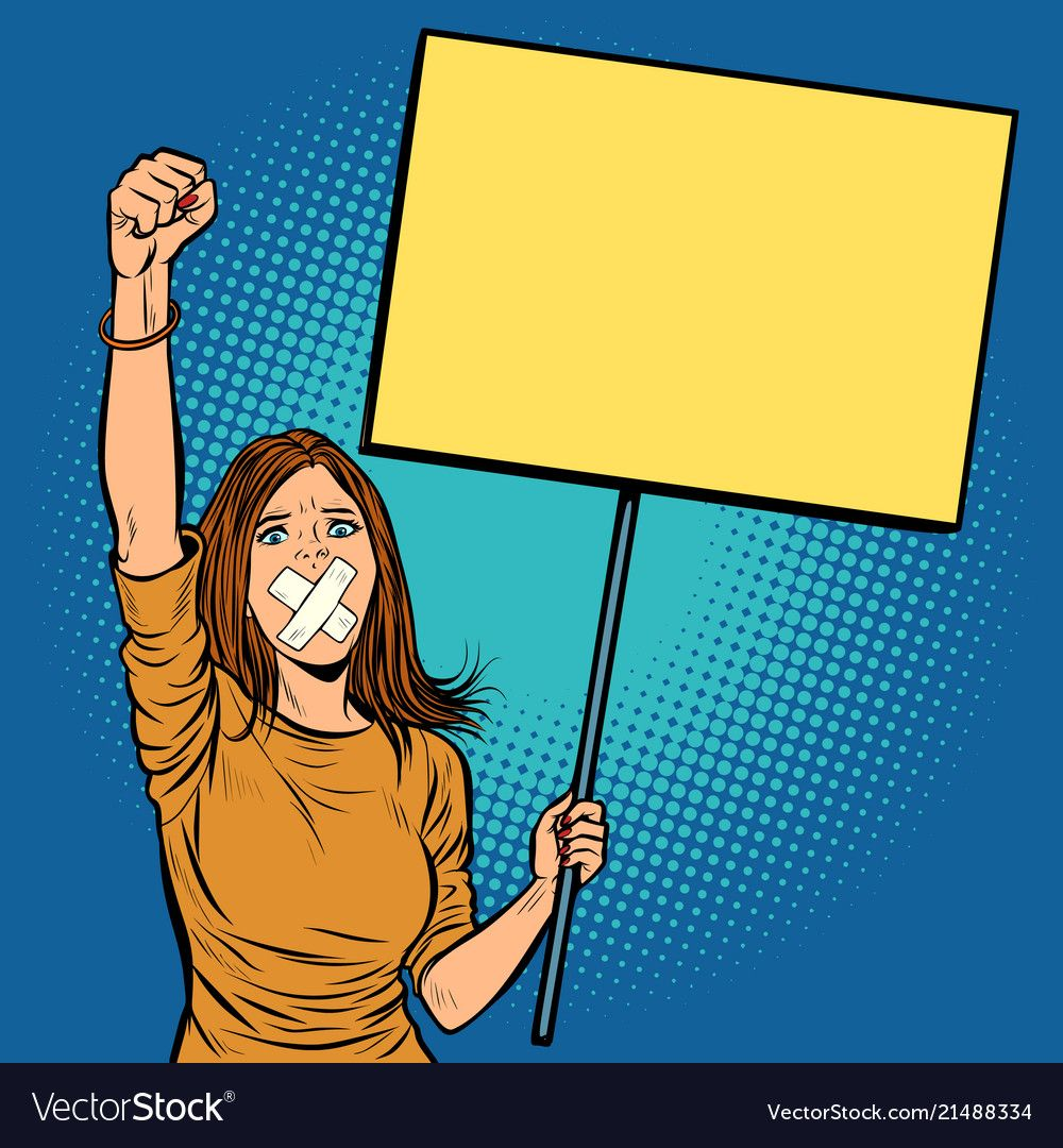 A Woman With A Gag In Her Mouth Protests For Freedom Of Speech Against The Censorship Pop Art Retro Ve Retro Vector Illustration Protest Posters Word Drawings