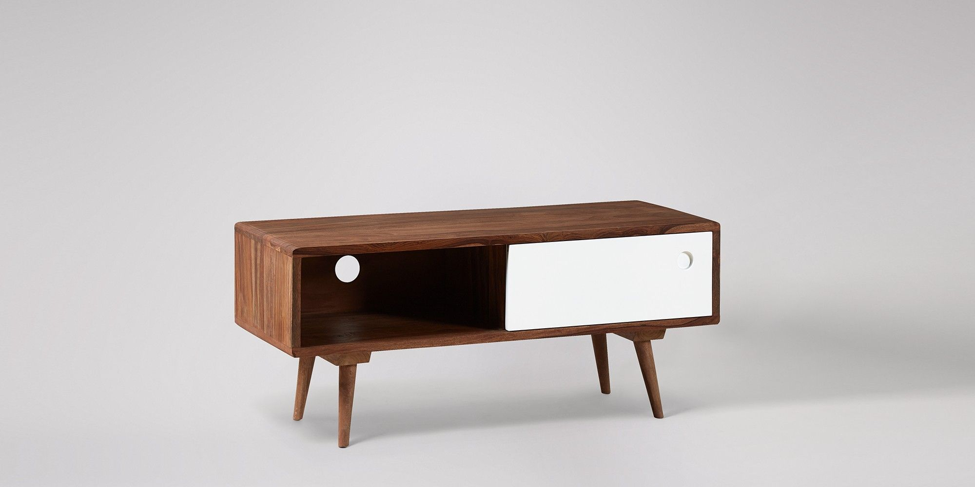 Swoon Editions Media unit, mid-century style in rosewood & white - £199