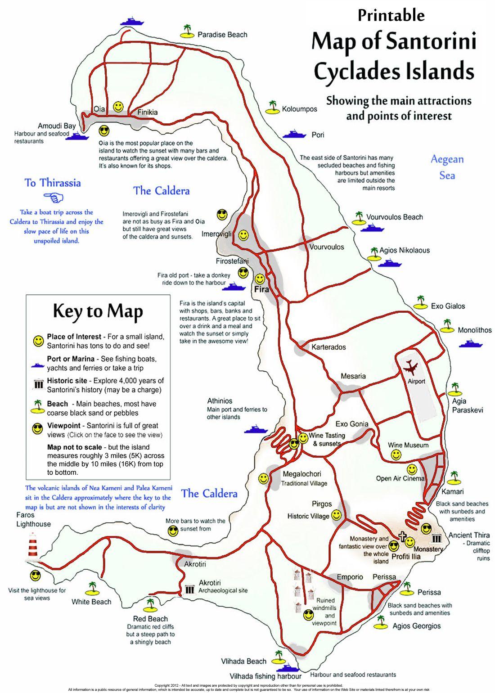 Santorini Free Printable Map Of The Island Santorini Map