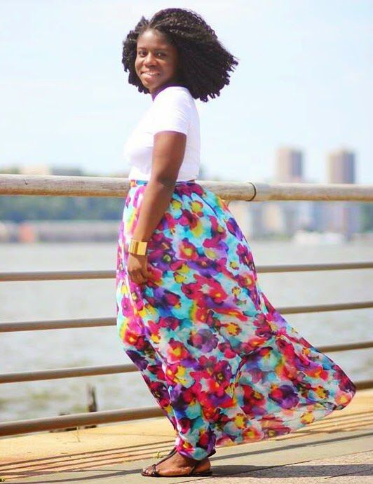 Floral hand painted water color maxi skirt designed and handmade by me. Fabrication: Silk. Paired with a basic white crop top from H&M.