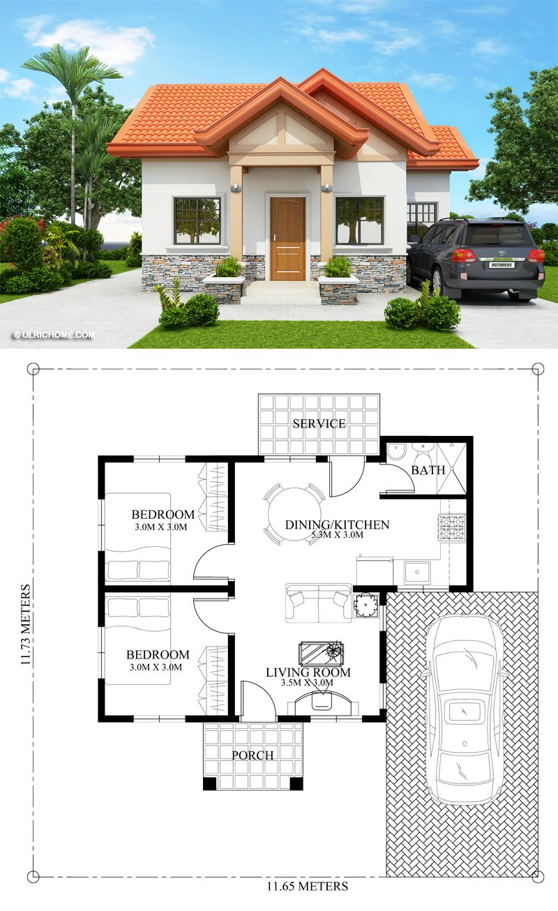 Captivating 2 Bedroom Home Plan Ulric Home Bungalow House Design Small House Design Plans Small House Design