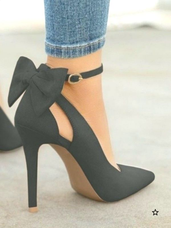 Black Round Toe Bow Fashion HighHeeled Shoes  Happy Hour