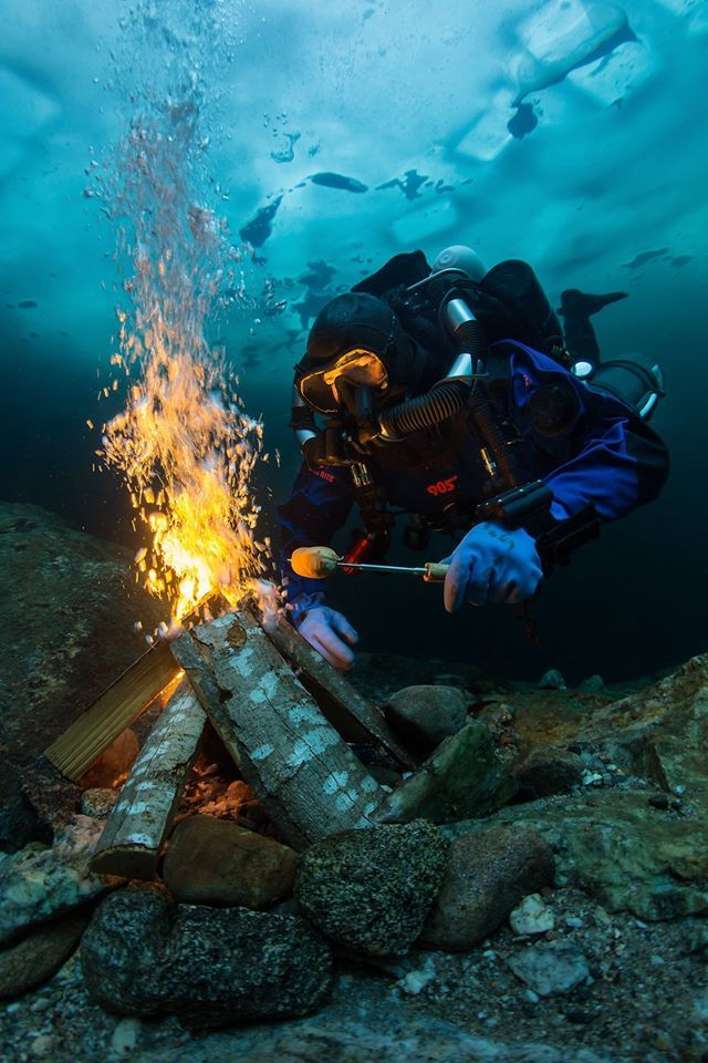 ice diving and underwater campfire