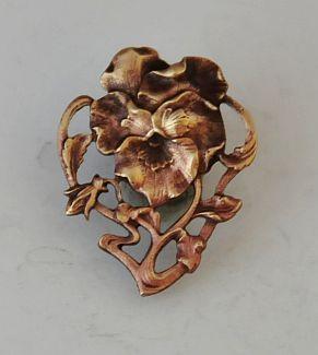 Stunning French Art Nouveau Pierced Brass Button - Pansy