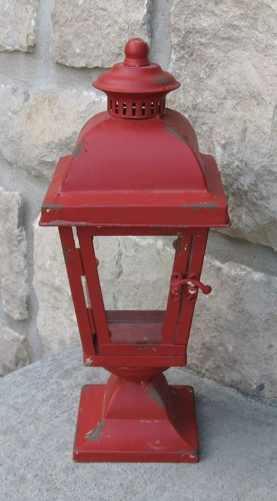 Farmhouse Antique Red Lantern Candle Holder Primitive French Country Decor Naiveprimitive