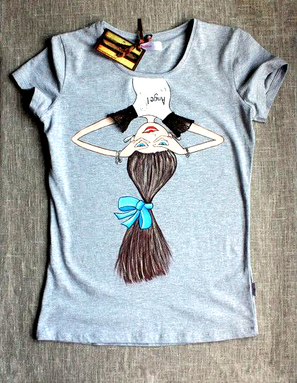Lantern Sleeve Bow Sleeve T Shirt T Shirt Painting Fabric Paint Shirt Painted Clothes
