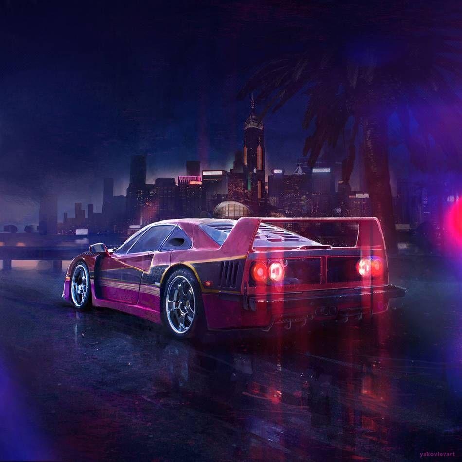 Cyber Punk F40 Synthwave Cyber City Neon Purple Aesthetic Wallpaper