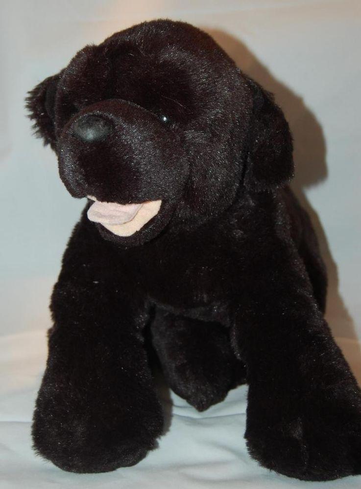 Large Build A Bear Black Lab Dog Tongue Cute 13 Plush Stuffed