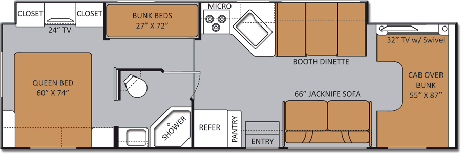Class c rv floor plans with bunk beds gurus floor for Floor plans for motorhomes