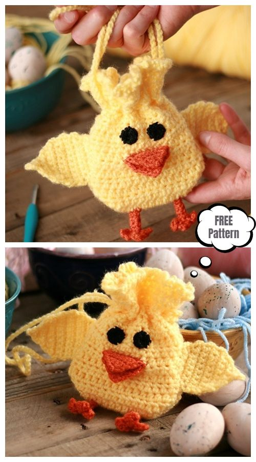 Easter Chick Drawstring Bag Free Crochet Pattern #eastercrochetpatterns