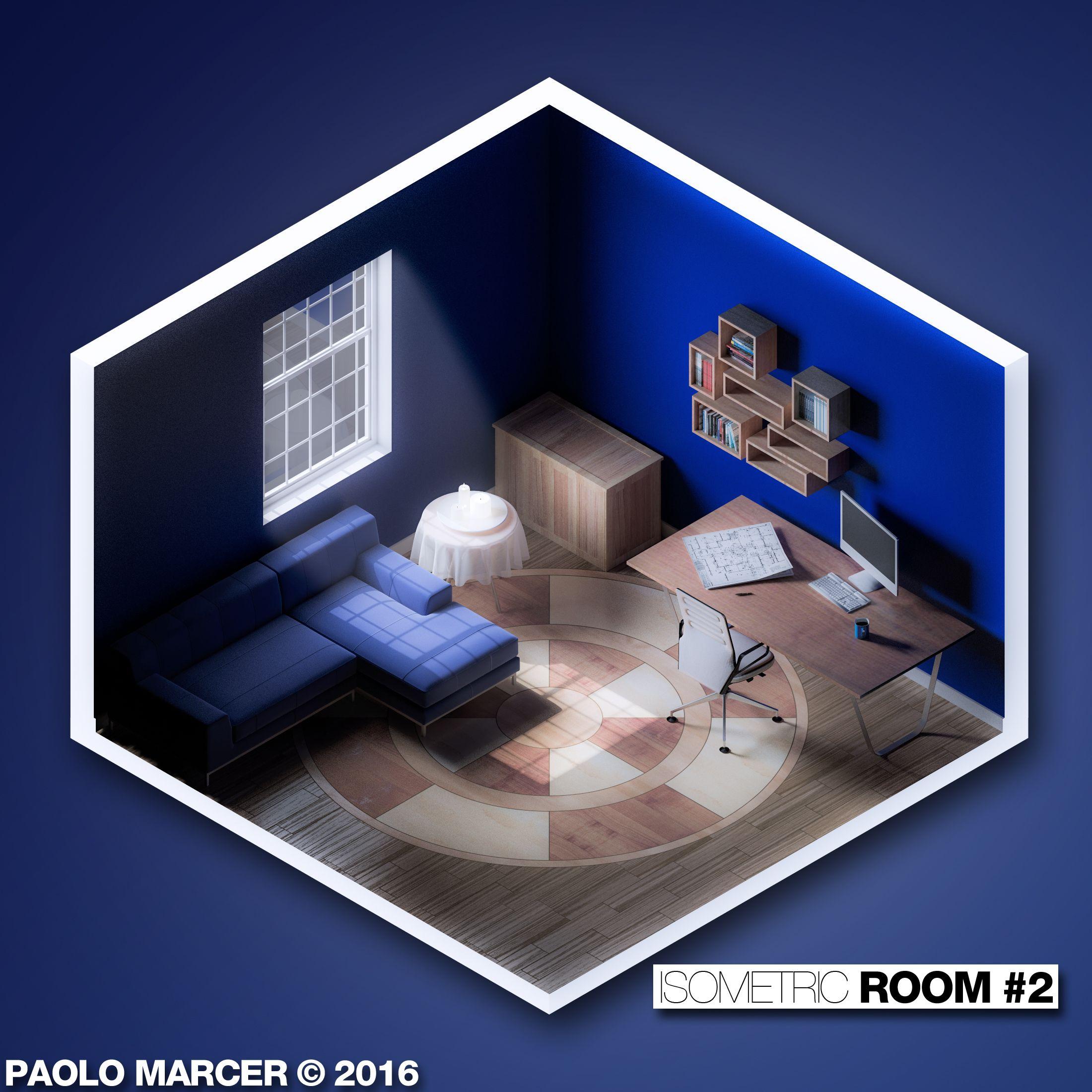 isometric room  2 modellazione in cinema 4d  rendering con