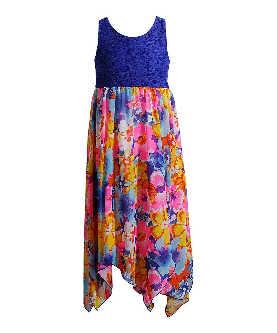 Blue & Pink Floral Crochet & Chiffon Maxi Dress - Girls by Youngland #zulily #zulilyfinds